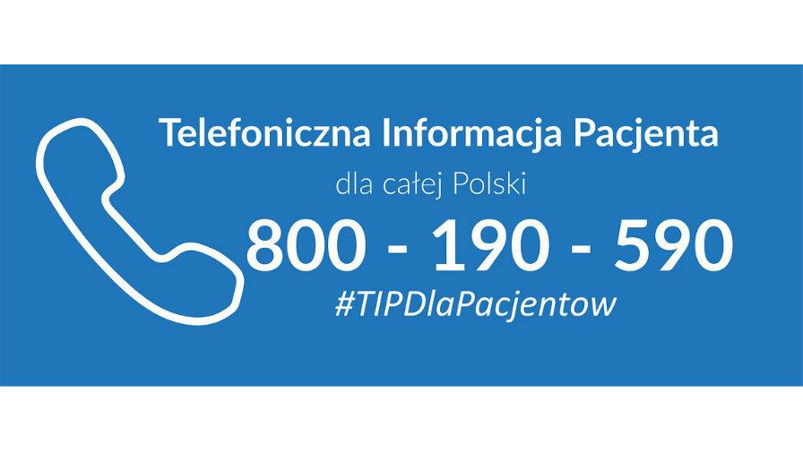 800-190-590 wspólny numer telefonu do NFZ oraz Biura Rzecznika Praw Pacjenta.